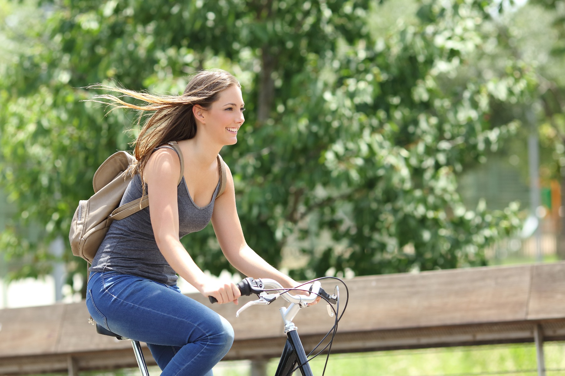 Woman cycling in park